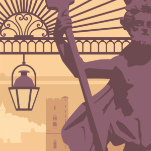 Gros plan de l'illustration Carcassonne rétro