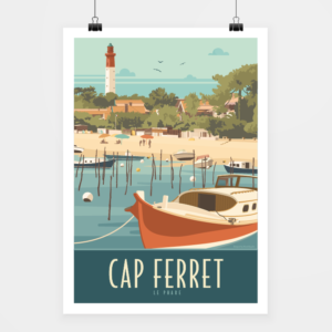 Affiche touristique avec l'illustration Cap Ferret le Phare-Bleu