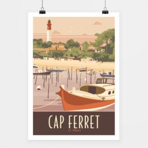Affiche touristique avec l'illustration Cap Ferret le Phare-Rouge