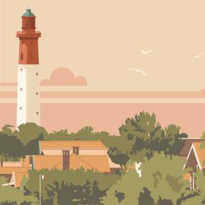 Gros plan de l'illustration Cap Ferret le Phare-Rouge