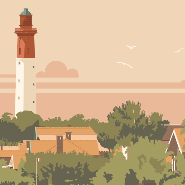 Gros plan de l'illustration Cap Ferret le Phare-Rouge