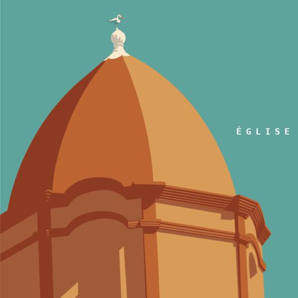 Gros plan de l'illustration Collioure Notre-Dame