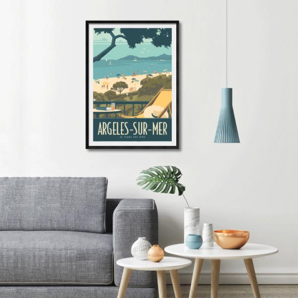 Décor avec l'affiche encadrée Argelès plage des Pins