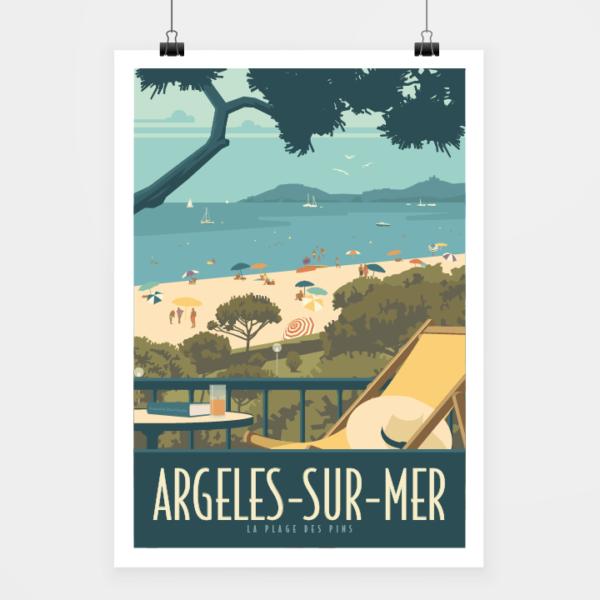 Affiche touristique avec l'illustration Argelès plage des Pins