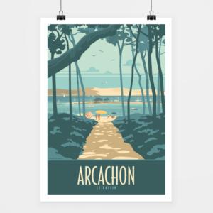 Affiche touristique avec l'illustration Arcachon le Bassin