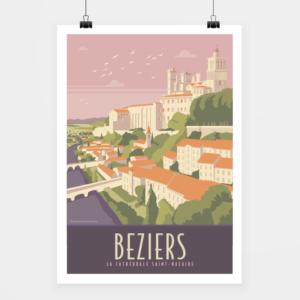 Affiche touristique avec l'illustration Béziers Cathédrale 02