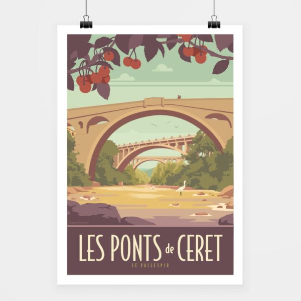 Affiche touristique avec l'illustration Céret Les Ponts