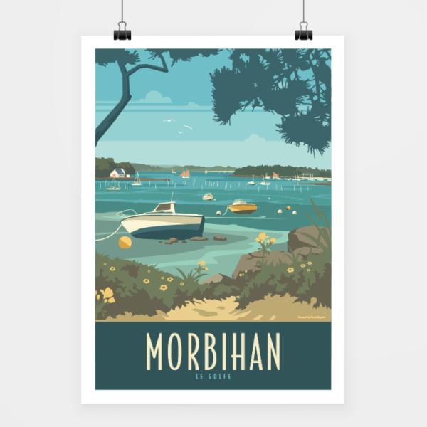 Affiche touristique avec l'illustration Morbihan le golfe - Bateaux