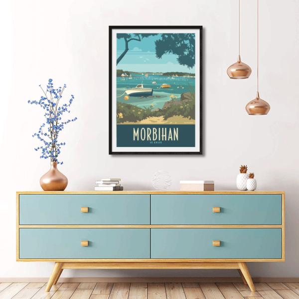 Décor avec l'affiche encadrée Morbihan le golfe - Bateaux