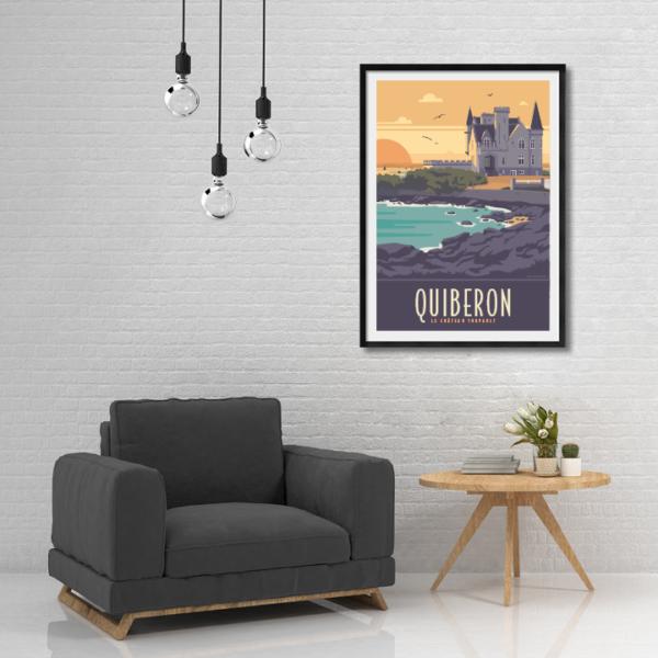Décor avec l'affiche encadrée Quiberon le château