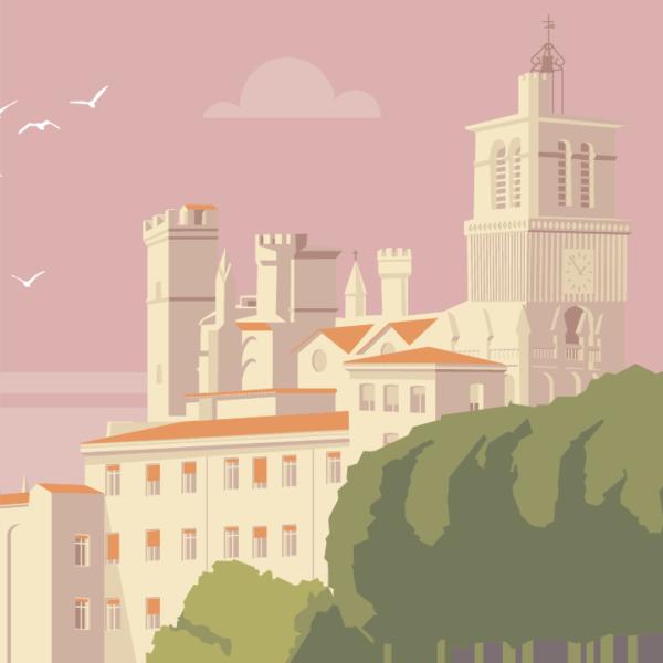 Gros plan de l'illustration Béziers Cathédrale 02