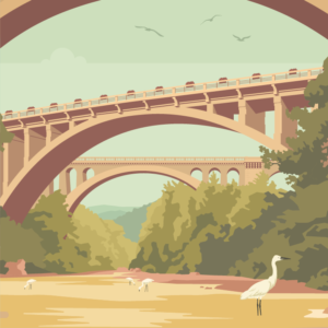 Gros plan de l'illustration Céret Les Ponts