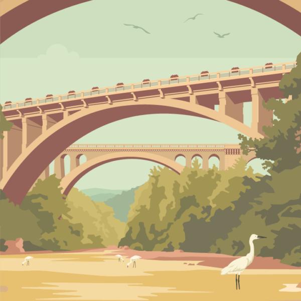 Gros plan de l'illustration Céret Les Ponts