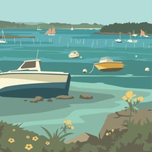 Gros plan de l'illustration Morbihan le golfe - Bateaux