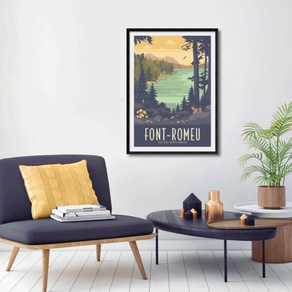 Décor avec l'affiche encadrée Font-Romeu Bouillouses