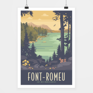 Affiche touristique avec l'illustration Font-Romeu Bouillouses