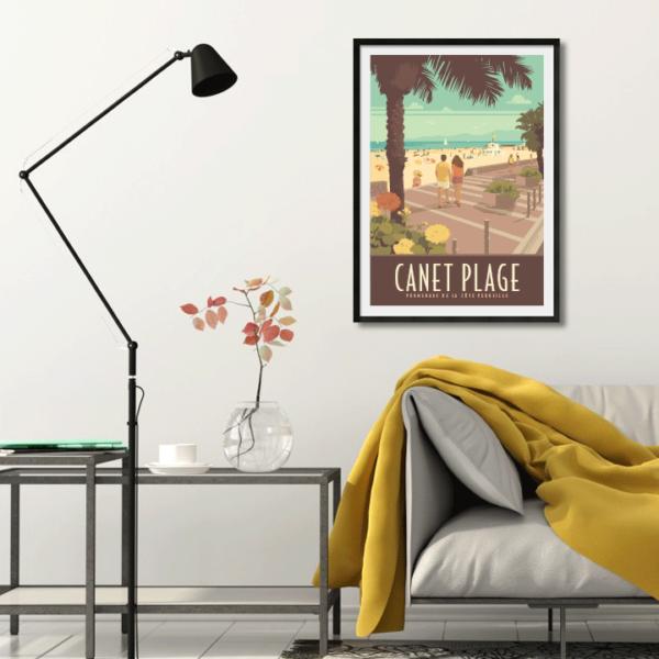 Décor avec l'affiche encadrée Canet plage