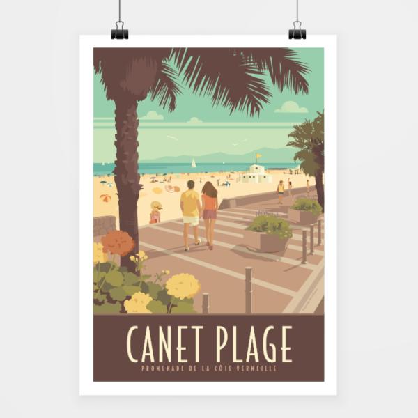 Affiche touristique avec l'illustration Canet plage