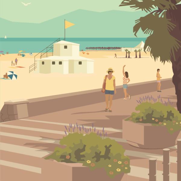 Gros plan de l'illustration Canet plage