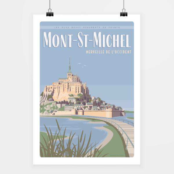 Affiche touristique avec l'illustration Mont-St-Michel