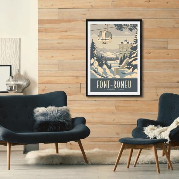 Décor avec l'affiche encadrée Font-Romeu Hiver