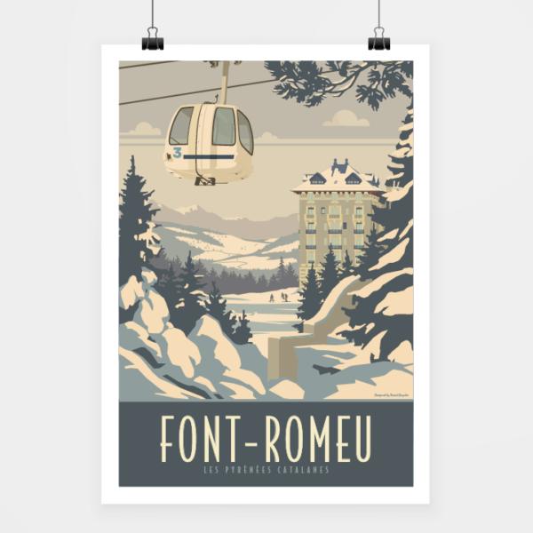 Affiche touristique avec l'illustration Font-Romeu Hiver