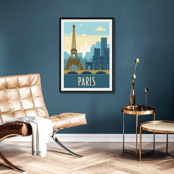 Décor avec l'affiche encadrée Paris rétro bleu