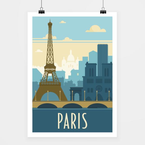 Affiche touristique avec l'illustration Paris rétro bleu