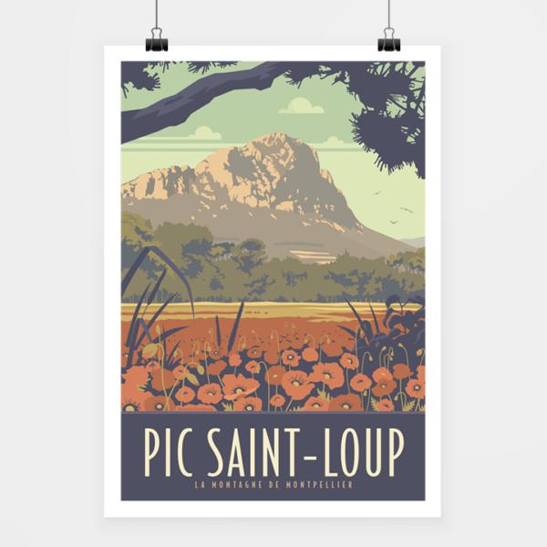 Affiche touristique avec l'illustration Pic Saint-Loup