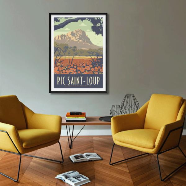 Décor avec l'affiche encadrée Pic Saint-Loup