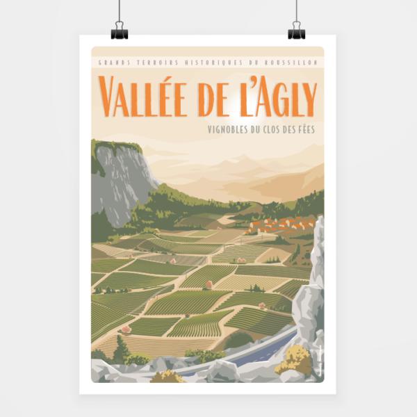 Affiche touristique avec l'illustration Vallée de l'Agly