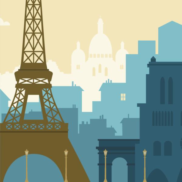Gros plan de l'illustration Paris rétro bleu