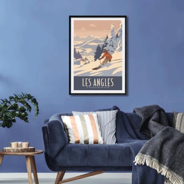 Décor avec l'affiche encadrée Les Angles Station de ski