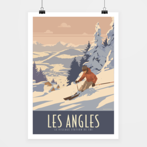 Affiche touristique avec l'illustration Les Angles Station de ski