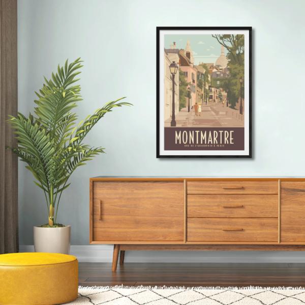 Décor avec l'affiche encadrée Paris Montmatre