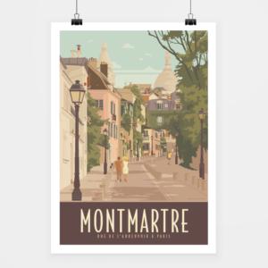 Affiche touristique avec l'illustration Paris Montmartre