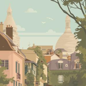 Gros plan de l'illustration Paris Montmartre