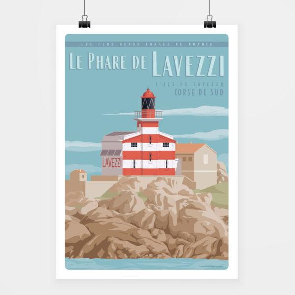 Affiche touristique avec l'illustration Corse Phare Lavezzi