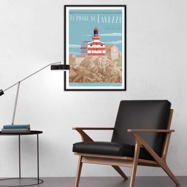 Décor avec l'affiche encadrée Corse Phare Lavezzi