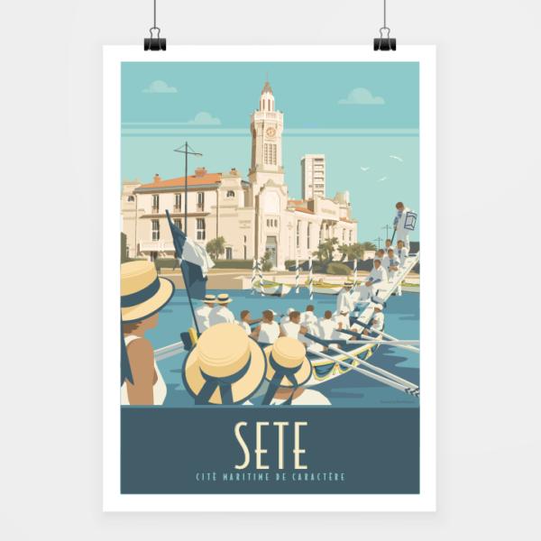 Affiche touristique avec l'illustration Sète