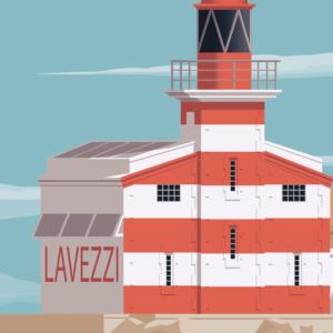 Gros plan de l'illustration Corse Phare Lavezzi