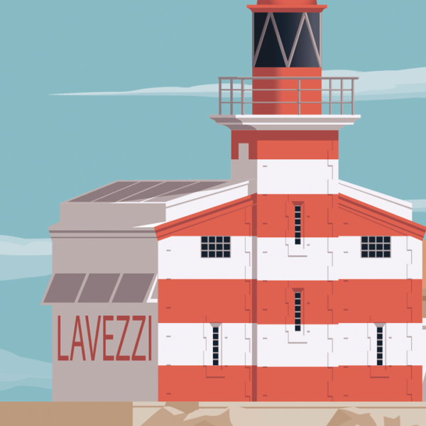 Gros plan de l'illustration Corse Phare Lavezzi