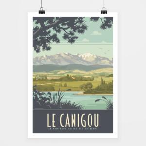 Affiche touristique avec l'illustration Le Canigou
