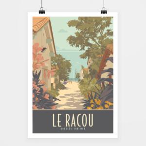 Affiche touristique avec l'illustration Le Racou