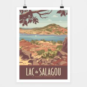 Affiche touristique avec l'illustration Lac du Salagou
