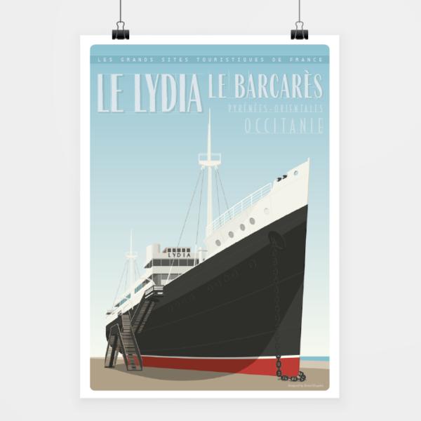 Affiche touristique avec l'illustration Le Barcarès le Lydia