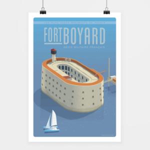 Affiche touristique avec l'illustration Fort Boyard