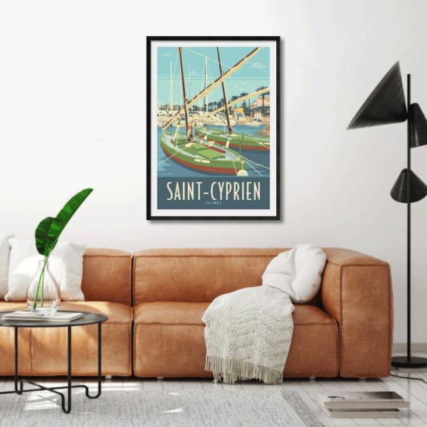 Décor avec l'affiche encadrée du Port de Saint-Cyprien