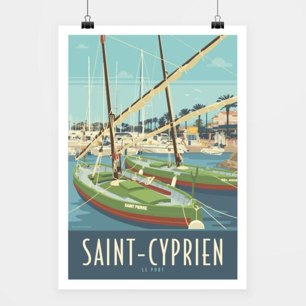 Affiche touristique avec l'illustration Saint-Cyprien Le Port