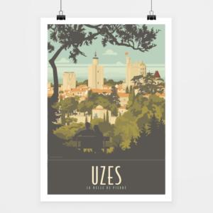 Affiche touristique avec l'illustration Uzès